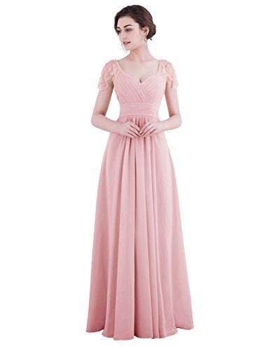 Dresstells Robe de demoiselle d'honneur Robe de soirée forme empire manches courtes longueur ras du sol Blush