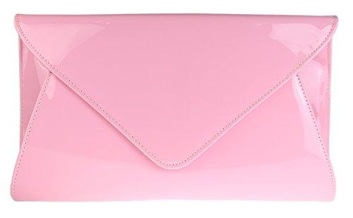 Girly HandBags Designer Cuir Simili Verni Enveloppe Soirée Pochette Dames Rose Clair