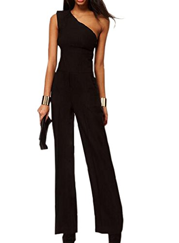 One-shoulder-jumpsuit (DELEY Damen Sommer Chiffon One Shoulder Ärmellos Bootcut Hose Overalls Playsuits M)
