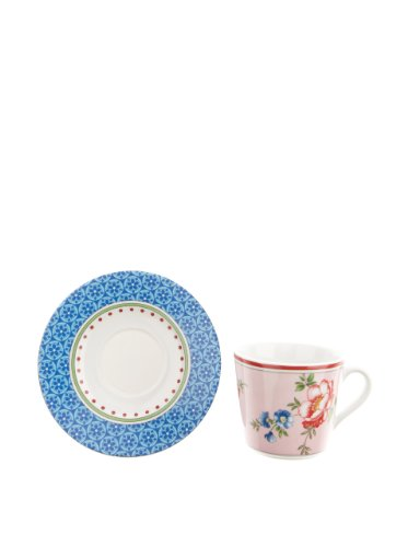 Creatable 166334 Ensemble de 6 tasses à café et soucoupes style vintage 20 cl/14 cm