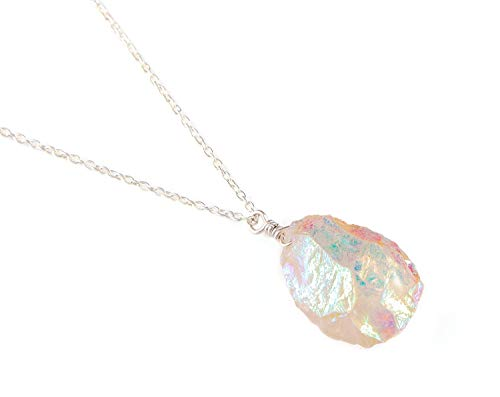 Aura - Collar de cuarzo con colgante para regalo para su madre, delicada cadena de plata, cristal de cuarzo natural crudo, cumpleaños, aniversario