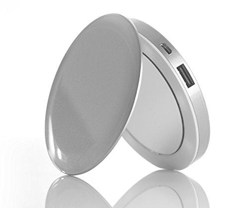 iLogoTech Power Compact Kosmetikspiegel PowerBank 3000mAh, silber