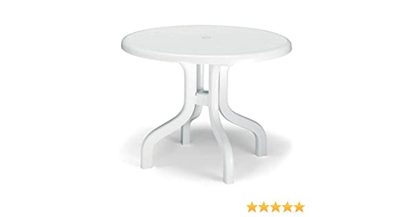 Colore Bianco. Set 2 Tavoli da Giardino Piano Ribaltabile Rotondo in Resina Diam 95