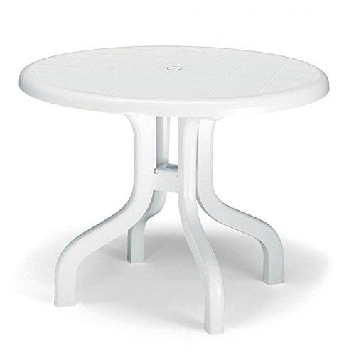 Ideapiu Lot de 2 tables de jardin à plateau rabattable, rondes, en résine, diamètre 95 cm, couleur blanc
