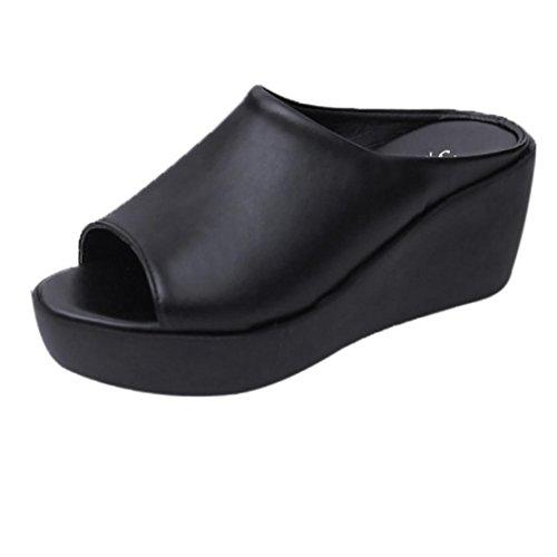 ❉Sandales Compensées Femmes Tongs Chaussures Compensées Chaussures De Plage Mules Chausson Pantoufles été Mode Loisirs Poisson Bouche Sandales Pantoufles De Fond épais GongzhuMM