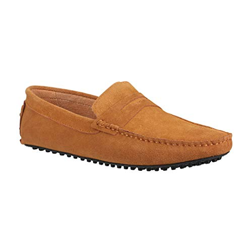 Elara Herren Schuhe   Echtes Wildleder   Bootsschuhe   Segelschuhe   Mokassin   Chunkyrayan RL1001 Camel-45 Wildleder Schuhe