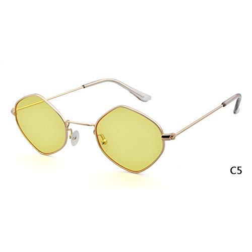 ZRTYJ Sonnenbrille Polygon Rhombus Sonnenbrille Frauen Tönung Gelbe Linse Weibliche Promi Tag Nacht Sonnenbrille Ray Shades