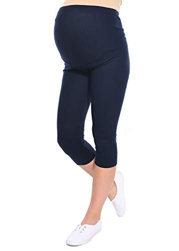 Mija - Oasi - Gute Qualität Umstandsleggings für Schwangere Capri 3/4 Leggings / Hose 3082 (L, Marine) (Marine-blau-schwangerschafts-hosen)