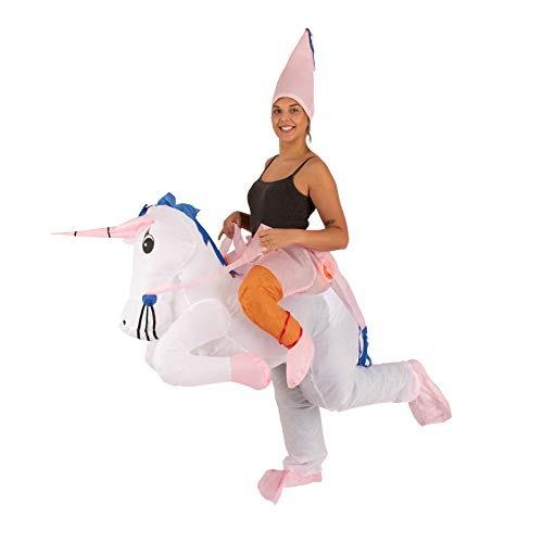 Lumunu Deluxe aufblasbares Einhorn-Kostüm FRÄULEINHORN, Partykostüm für Erwachsene, One Size, Unisex