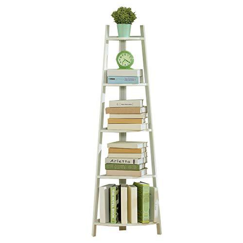 XXLlqRacks 147cm Hoch Fächerförmiges Eckregal 5 Ebenen Eckregal, Standregale, Bücherregal, Leiterregal, einfache Montage, Stabiles Metall für den Rahmen, für Zuhause, Wohnzimmer, Schlafzimmer, Balkon -