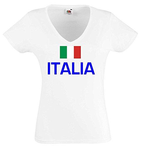 world-of-shirt Damen T-Shirt Italia/ Italien Trikot|S