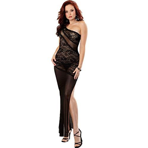 Dreamgirl Damen Kleid mit Stretch, Spitze und passendem Tanga - Schwarz - X-Groß -