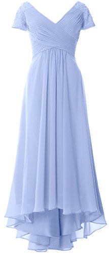 MACloth Cap Sleeves V Neck High Low Mother of Bride Dress Evening Formal Gown Sky Blue