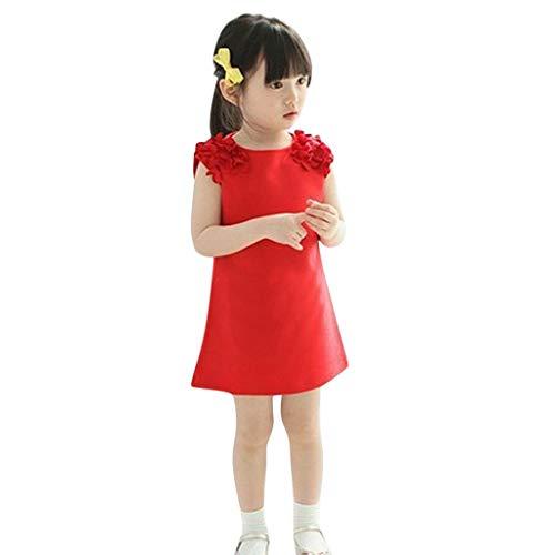 REALIKE--Baby Mädchen Kleid Fashion Drucken Ärmellos Einfarbig Prinzessin Mini Kleid Blumenmädchenkleid Taufkleid Festlich Kleid Hochzeit Partykleid Festzug Sommerkleid ()