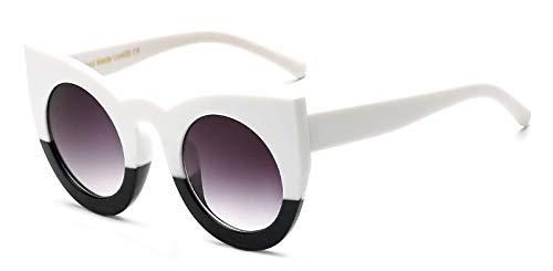 Muxplunt - Cat Eye Runde Sonnenbrillen für Frauen Retro Vintage Leopard Sonnenbrille Weibliche UV400 New Goggles Oculos [Up White]