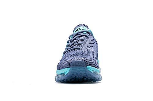 Onemix Damen Air Laufschuhe Sportschuhe mit Luftpolster Turnschuhe Leichte Schuhe,Gr 36-43 Dunkelgrau / grün