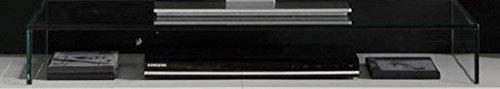 Dreams4Home Wohnkombination 'Tiziano I', Schrank Vitrine TV-Schrank Wohnwand Wohnelement Wohnzimmer Regalwand inkl. Beleuchtung Rauchsilber / weiß, Ausführung:ohne Glas-TV-Bühne - 3