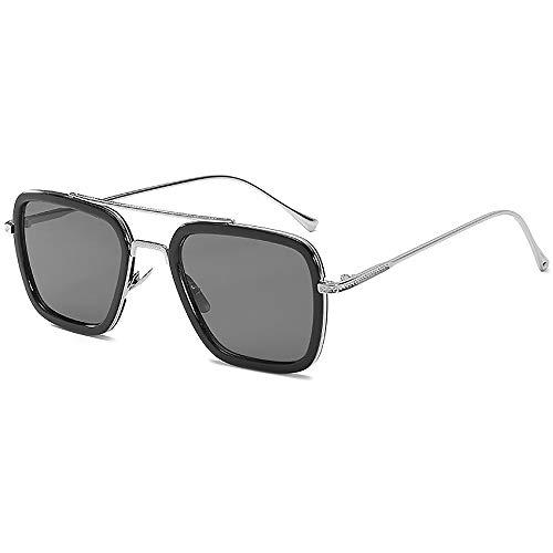 SHEEN KELLY Luxus Retro Sonnenbrille Quadratische Brillen Metallrahmen für Männer Frauen Klassiker Sonnenbrille Piloten Silber Schrittweise Linsen, schwarz