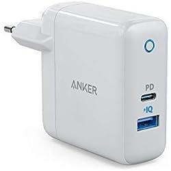 Chargeur USB-C Anker PowerPort Speed+ Duo avec Power Delivery - Chargeur USB-C PD 30W et USB 12W pour iPhone XS/XS Max/XR/X/8, iPad Pro/Air 2/Mini, Macbook/Macbook Pro, Galaxy S9/S8, LG, Nexus etc.