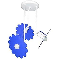 Plafón techo lámpara azul sala infantil modelo margarita completo de lámparas LED