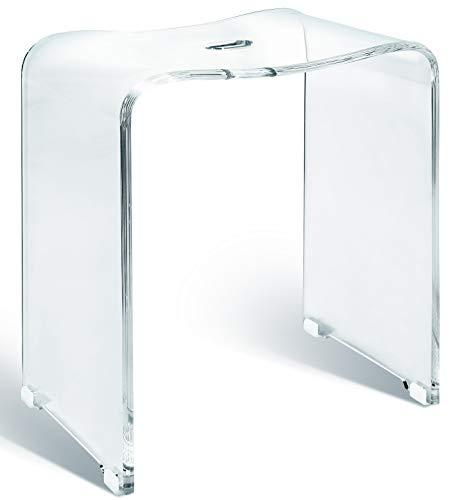 Libaro Badhocker Meran aus Acryl transparent, für die Dusche geeignet, mit Griff, Zeitloses Design, rutschsicher mit Gummifüßen