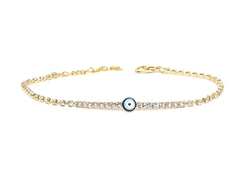 Remi Bijou - Elegantes Armband Armkette Armreif - blaues Auge Nazar Boncuk Zirkonia Strass (Gold)