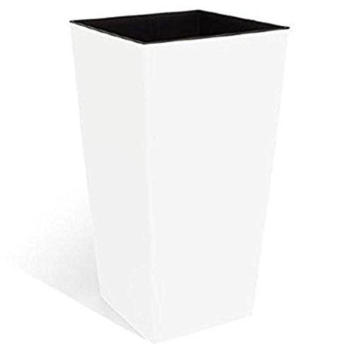 Haut pot de fleur URBI 91.5 L bac interieur 42 L hauteur du pot 80 cm carre blanc en plastique