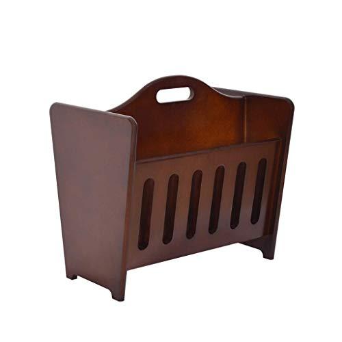 Sj - portariviste in legno, supporto per scrivania, supporto per riviste, con manico marrone