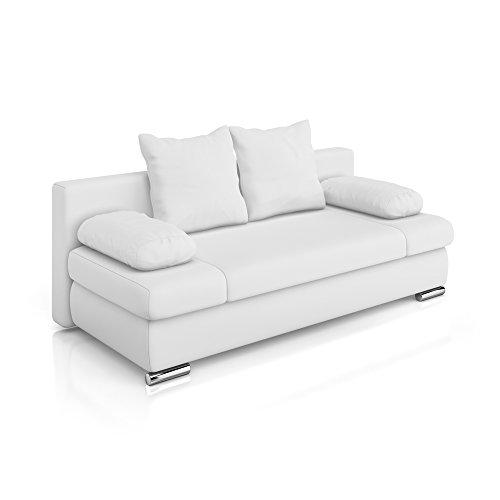 Vicco Schlafsofa Couch Sofa Schlafcouch Chicago 200x95cm PU Leder weiß Gästebett (Pu-schlafsofa)