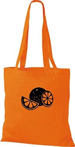 ShirtInStyle Stoffbeutel Baumwolltasche Dein Lieblings Obst und Gemüse Orange Apfelsine Farbe Pink orange