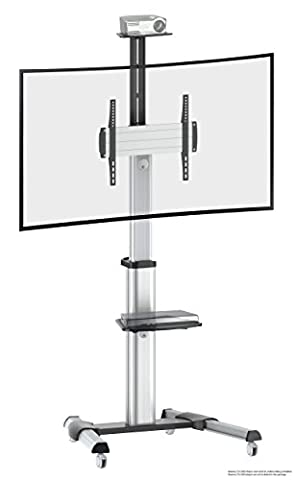 Ricoo LCD TV Stand Glass base mount with tilt FS0444 Rotation Swivel with Wheels Adjustable Height Led Tv Stand Furniture Rack VESA 400x400 Universal DVD Receiver Glass