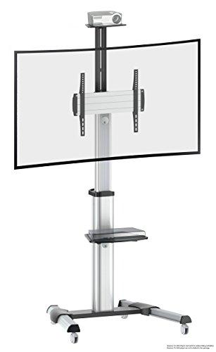 RICOO TV Ständer Universal Standfuß Halterung Neigbar Drehbar FS0444 Schwenkbar mit Rollen Höhenverstellbar LCD LED Fernseher Stand Möbel DVD Rack Receiver Regal Ablage VESA 400x400