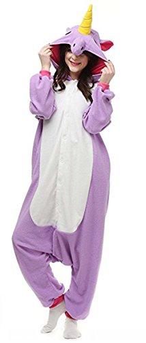 Animal style kigurumi Pyjama Adulte Anime pyjamas tenue Onesie Cospaly Fete Flannels costume (Large, Licorne Violet)