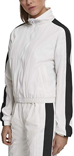 Urban Classics Damen Ladies Short Striped Crinkle Track Jacket Jacke, Weiß (Wht/Blk 00224), Large (Herstellergröße: L) -