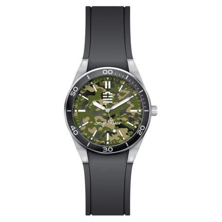 Serge Blanco Quinze Herren-Armbanduhr, Gummi, Schwarz