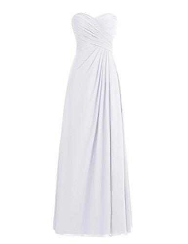 Dresstells, robe de soirée mousseline sans bretelles longueur ras du sol col en cœur Blanc