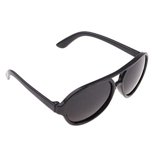 Baoblaze Mode Puppe Brille Sonnenbrillen Gläser mit Kunststoffrahmen für 25cm Mellchan Puppen Kleidung Zubehör - Schwarz