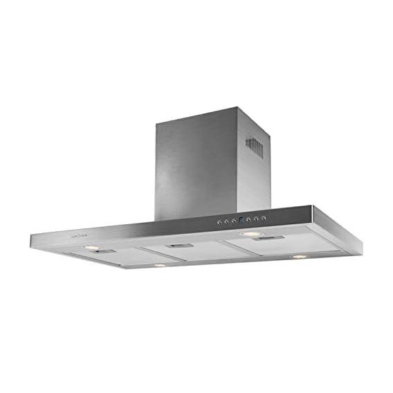 Klarstein 90DS5 Cappa Aspirante da cucina da parete (90 cm, potenza di  aspirazione pari a 500 m³/h, 4 livelli di potenza, 4 faretti alogeni a ...