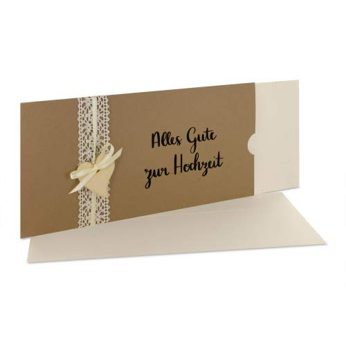 Glückwunschkarte Hochzeit mit Spitze und Holzherz