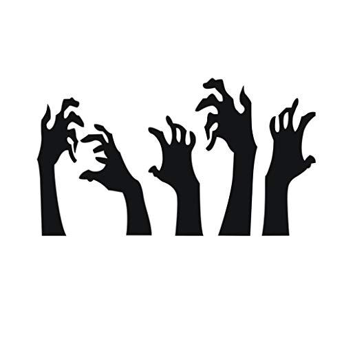 LANDFOX 56x33CM Halloween Dekoration Lampe Große Awegung Aktiviert Halloween Ghost Wandaufkleber Happy Halloween Hintergrund Wandaufkleber Fenster Dekoration Abziehbild Dekor (Schwarz) (Patrol-halloween Ghost Paw)