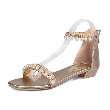 LvYuan Sandalen-Büro Kleid Lässig-Kunstleder-Flacher Absatz-Komfort Neuheit Club-Schuhe-Schwarz Rosa Weiß Silber Gold Pink