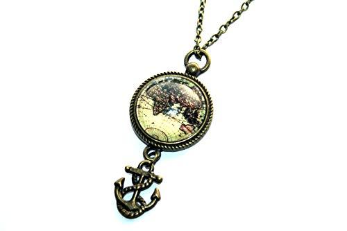 Handmade Weltkarten Globus Anker Kette, 70cm, bronze, süsse handgefertigte Freundschaftskette für die liebste Schwester, beste Freundin und alle Reiselustigen