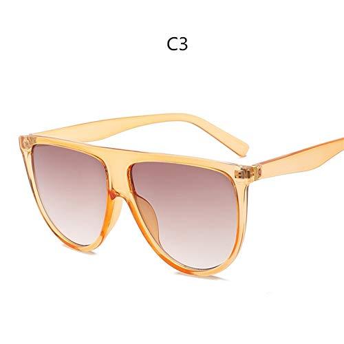Sonnenbrille Frau Vintage Retro Flat Top Dünne Schatten Sonnenbrille Square Pilot Designer Große Schwarze Schattierungen (Lenses Color : C3)