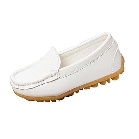 Chaussures de Sport Longra Chaussures enfants Garçons Sneakers Chaussures pour Bateaux (24, Blanc)