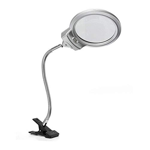 ATR Hände frei Lupe, 2 LED-Licht beleuchtet 2,5X 5X Glas mit Schreibtischclip zum Lesen von...