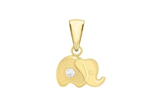 Klar, Satin-gold Anhänger (9ct Gelb Gold Satin klarem Stein Anhänger Elefant)