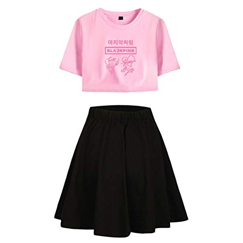 i Stücke Set Crop Top + Rock Trainingsanzüge Ausgesetzt Tops Und Röcke Set Sexy Sommer T-Shirt Lisa Jennie Jisoo Rose (5,S) ()