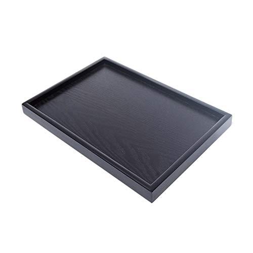 Tablett schwarz Holztablett rechteckig Massivholzplatte Teller Teller Tee Tablett Tasse Massivholzplatte schwarz 39 * 30 * 2