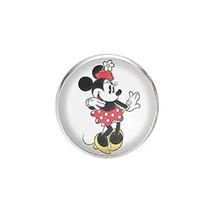 Edelstahl Brosche, Durchmesser 25mm, Stift 0,7mm, handgemachte Illustration Minnie Mouse 3
