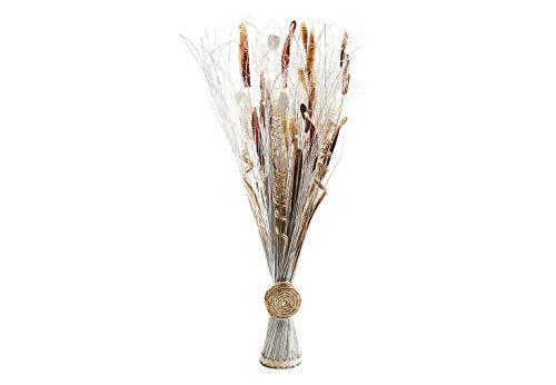 Kobolo Deko-Bündel aus Kunstblumen und Naturfasern weiß braun Handarbeit